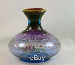 Fenton Art Glass OOAK Handpainted Mulberry Vase