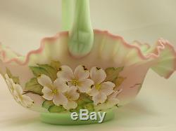 Fenton Art Glass OOAK Lotus Mist Burmese Handpainted Basket