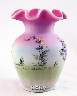 Fenton Art Glass OOAK Lotus Mist Burmese Handpainted Bunny Vase