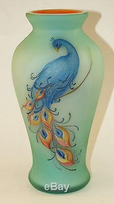 Fenton Art Glass OOAK Milk Glass Vase Cased withRobin's Egg Blue & Marigold Spray
