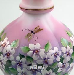 Fenton Art Glass OOAK Rosalene Melon Vase Dragonflies & Floral Design