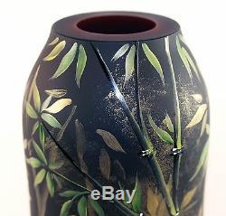 Fenton Art Glass OOAK Ruby/Black Cased Vase with Zebra Design