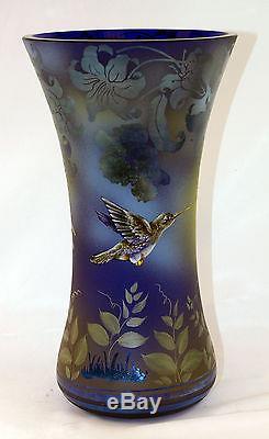 Fenton Art Glass OOAK Sandcarved/Handpainted Hummingbird Theme Favrene Vase