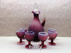 Fenton Art Glass PLUM OPALESCENT Hobnail Decanter 6 Goblets Cordial Set OG Label