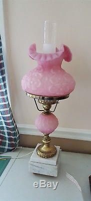 Fenton Art Glass Pink Satin EMBOSSED POPPY Student Desk Lamp Heavy Marble Base