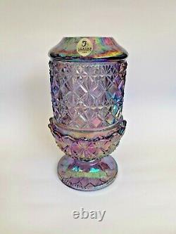 Fenton Art Glass Purple Iridescent Diamond Cut & Block Pattern Fairy Lamp