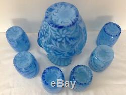 Fenton Art Glass Sapphire Blue Opalescent Fern & Daisy Pitcher & 6 Tumblers