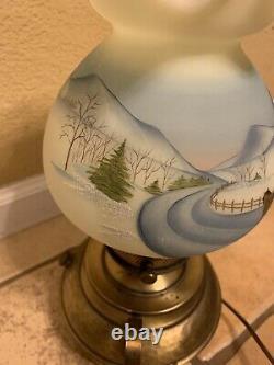 Fenton Art Glass Skater Lamp Christmas 1980 Going Home Signed #1