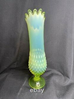 Fenton Art Glass Topaz Opalescent Hobnail Swung Vase