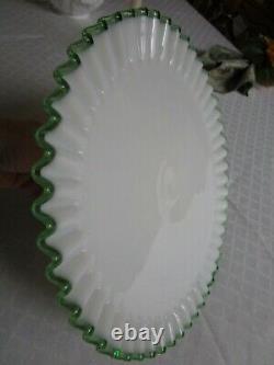 Fenton Art Glass White Milk Glass Green Crest Pedestal Cake Plate Stand Vintage