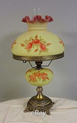 Fenton Art Glass hand painted Burmese GWTW hurricane lamp pink roses M Reynolds