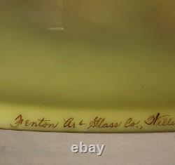 Fenton BURMESE SATIN SCENIC TREES 21 BRASS LAMP