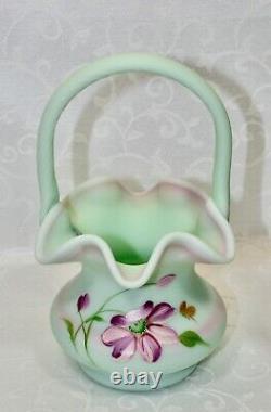 Fenton, Basket, Lotus Mist Burmese Glass, Hand Decorated