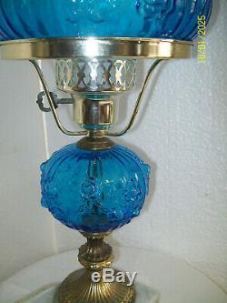 Fenton Blue Cabbage Rose Student Lamp