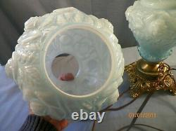 Fenton Blue Cased Glass Embossed Roses Electric Table Lamp