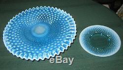Fenton Blue Hobnail Topaz Opalescent Art Glass Cake Pedestal Stand & 8 Lg. Plate