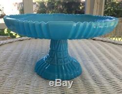 Fenton Blue Milk Glass Block and Star 11 Cake Stand Vintage Pedestal Cake Plate