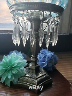 Fenton Blue Opalescent Coindot Lamp