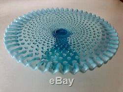 Fenton Blue Opalescent Hobnail Cake Plate Stand Ruffled Edge