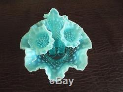 Fenton Blue Opalescent Hobnail Mini 3 Horn Trumpet EPERGNE #3902 Circa 1949-1970