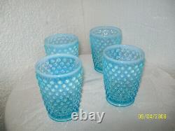 Fenton Blue Opalescent Hobnail Pitcher/4 Glasses