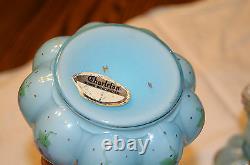 Fenton Blue Overlay Charleton Painted Pansy Vanity Perfume Cologne & Powder Set