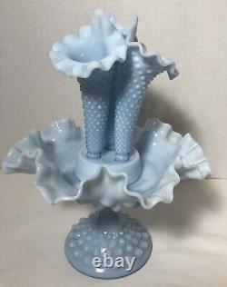 Fenton Blue Pastel Milk Glass Hobnail 3-Horn Epergne 5 Piece RARE