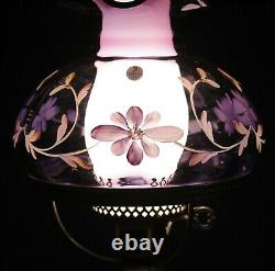 Fenton Brass Student Lamp Royal Purple Shade withHP Flowers #388/1450