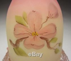 Fenton Burmese 7501PD Pink Dogwood Hand Painted 3 Piece Fairy Lamp Light 1981-82