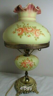 Fenton Burmese Art Glass Student Lamp Hand Painted Roses Louise Piper 1971