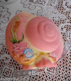 Fenton Burmese Glass Nautilus Vase 2006