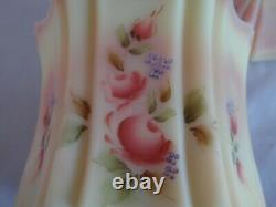 Fenton Burmese Hand Painted Artist Signed Floral Vulcan Candy Jar Box 2005 QVC