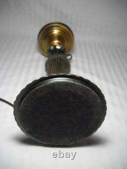 Fenton Cabbage Rose 25 Pillar Lamp Dusty Rose Shade withChimney & Brass Base