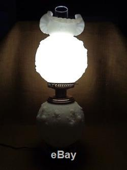 Fenton Cabbage Rose GWTW Lamp n White Satin Glass circa 1970's