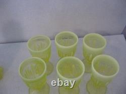 Fenton Cactus Topaz Opalescent Pitcher and 6 Goblets