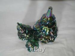 Fenton Christmas Tree Set Amethyst Carnival Evergreen Glass BEAUTIFUL 3 Trees