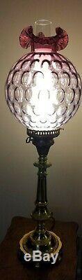 Fenton Coin Dot Mullberry Ruffled Top Brass Lamp