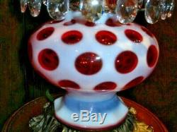 Fenton Cranberry Coin Dot Gwtw Student Style Lamp, Rare