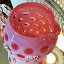 Fenton Cranberry Coin Dot Opalescent Pitcher 4 Tumblers Glass Vintage #130