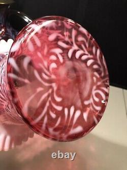 Fenton Cranberry Daisy And Fern Opal Large Top Hat Vase