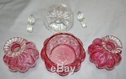 Fenton Cranberry Diamond Optic Melon Glass Set Powder Jar Perfume Bottle Vanity