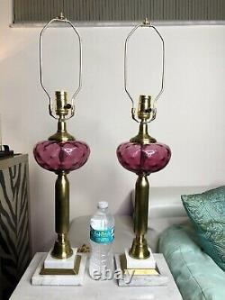 Fenton Cranberry Dot Optic Glass Table Lamp Pair Brass Marble 27 Thumbprint Vtg