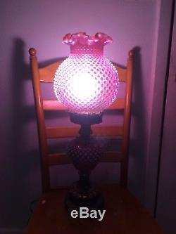 Fenton Cranberry Hobnail Large Lamp