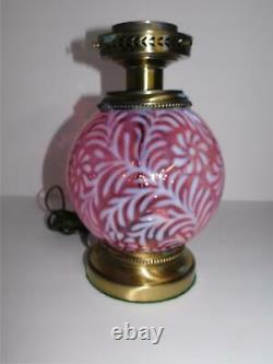 Fenton Cranberry Opalescent Daisy & Fern Gone With The Wind Lamp Gwtw
