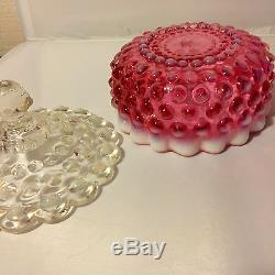 Fenton Cranberry Opalescent Hobnail Candy Dish, Covered Candy Vintage 1950s Ruby