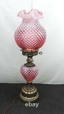 Fenton Cranberry Opalescent Hobnail Lamp Gone With The Wind Hurricane