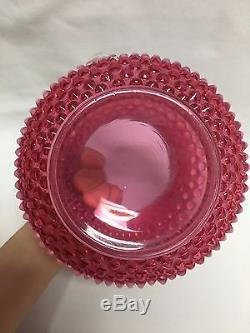 Fenton Cranberry Opalescent Hobnail Pitcher 4 Tumblers Water Set