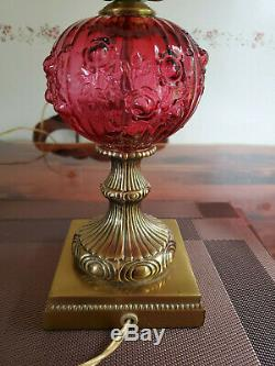 Fenton Cranberry Ruby Colonial Cabbage Rose Student Lamp