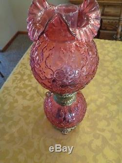 Fenton Cranberry Spanish Lace GWTW Lamp-GORGEOUS