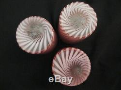 Fenton Cranberry Spiral Optic Pitcher And 3 Tumblers